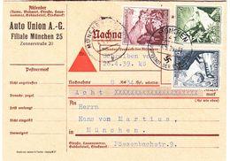 Allemagne - Empire - Document De 1939 - Oblit München - Fleurs Edelweiss - Valeur 17 €  ( 15 + 2 ) - Allemagne