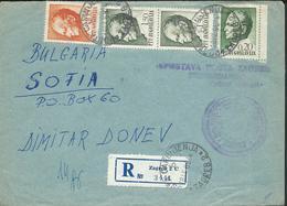 1968 Yugoslavia Registered Letter Via Bulgaria - Postmark - Customs Post Zagreb 2 Croatia - - 1945-1992 République Fédérative Populaire De Yougoslavie