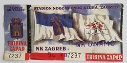Football Soccer CROATIA LEAGUE  NK ZAGREB VS NK DINAMO ZAGREB TICKET - Tickets & Toegangskaarten