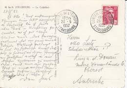 CP Affr Y&T 887 Obl CONSEIL DE L'EUROPE STRASBOURG Du 26.5.1952 Adressée à Linz / Donau - Marcophilie (Lettres)