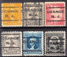 USA Precancel Vorausentwertung Preo, Locals New Jersey, Orange 202, 6 Diff. Perf. 3 X 11x11, 3 X 11x10 1/2 - Vereinigte Staaten