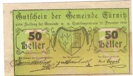 Österreich Austria Notgeld 50 HELLER FS1086I TURNITZ /174M/ - Autriche