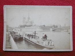 PARIS PANORAMA DE LA SEINE PENICHE PHOTO CIRCA 1880 DIM 16.5 X 11 - Lieux