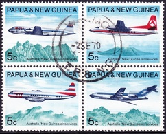 PAPUA & NEW GUINEA 1970 Australian & New Guinea Air Service Block Of 4 SG177/180 Used - Papua New Guinea