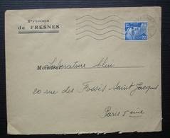 Prisons De Fresnes 1953 Enveloppe à En-tête Pour Paris - Poststempel (Briefe)