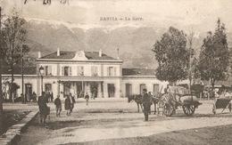 Corse Bastia La Gare Ancienne Charette à Cheval Cachet Postal De Toul Envoi à Un Soldat D'artillerie Moretti - Bastia