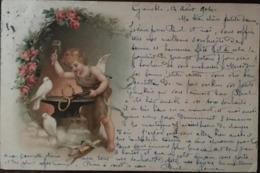 Cpa, ANGE FORGERON -cupidon-, écrite En 1904, éd D.P. Lyon, Cachets, Timbre,( Alliances, Colombes,Roses) - Anges