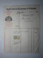 1929 FACTURE - BELFORT SOCIÉTÉ ANONYME DE CHAUFFAGE ET VENTILATION  MULHOUSE ÉPINAL NANCY PARIS Timbre Fiscal 1 Franc - 1900 – 1949