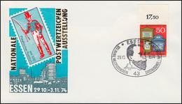 825 Weltpostverein UPU Auf Schmuck-FDC Messe ESSEN Bildnis Stephan 20.10.1974 - BRD