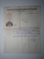 1928 FACTURE - BELFORT SOCIÉTÉ ANONYME DE CHAUFFAGE ET VENTILATION Agences MULHOUSE ÉPINAL NANCY PARIS - 1900 – 1949