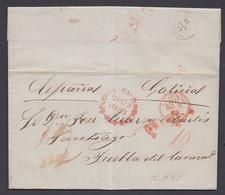 CARTA DE 1863 DE SAN JUAN DE TERRANOVA (TERRANOVA) A SANTIAGO (GALICIA) CON TRÁNSITO EN LONDRES - 1851-1902 Règne De Victoria