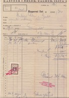 Croatia WWII NDH 1941 Revenue On Kastner I Oehler Zagreb Invoice B200225 - Croatie