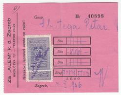 Yugoslavia Kingdom 1936 Revenue On Alem K.d., Zagreb Company Invoice B200225 - Croatie