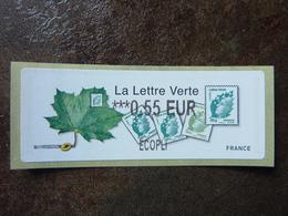 2011  LISA2  LA LETTRE VERTE  0,55€ ECOPLI (vendue à La Faciale) ** MNH - 2010-... Illustrated Franking Labels