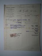 1929 FACTURE - BELFORT Ph. GRILLE CONSTRUCTEUR CONSTRUCTION MÉTALLIQUES Timbre Fiscal 25 Centimes - 1900 – 1949