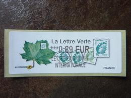 2011  LISA2  LA LETTRE VERTE  0,89€ LETTRE PRIORITAIRE INTERNATIONALE (vendue à La Faciale) ** MNH - 2010-... Illustrated Franking Labels
