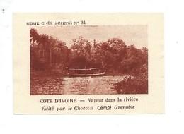 Chromo AOF Côte D'Ivoire Vapeur Dans La Rivière TB 75 X 50 Mm Pub: Chocolat Cémoi Au Dos Colonies Françaises - Chocolat