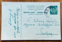 ROYAME DE YOUGOSLAVIE  CARTE POSTALE  0,75   To TEOSPAG 20/10/1936 - 1931-1941 Regno Di Jugoslavia