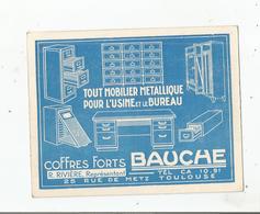 TOULOUSE (31) CARTE PUBLICITAIRE ANCIENNE ETS COFFRE FORTS BAUCHE 25 RUE DE METZ - Toulouse