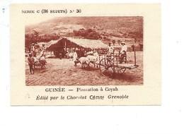 Chromo AOF Guinée COYAH TB 75 X 50 Mm Pub: Chocolat Cémoi Au Dos Colonies Françaises - Chocolat