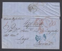 CARTA DE 1860 DE SAN JUAN DE TERRANOVA (TERRANOVA) A LUGO (GALICIA) CON TRÁNSITO EN LONDRES - 1851-1902 Règne De Victoria