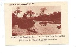 Chromo AOF Guinée Bille De Bois Dans Les Rapides TB 75 X 50 Mm Pub: Chocolat Cémoi Au Dos Colonies Françaises - Chocolat