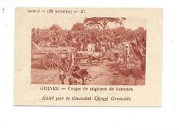 Chromo AOF Guinée Régimes De Bananes TB 75 X 50 Mm Pub: Chocolat Cémoi Au Dos Colonies Françaises - Chocolat