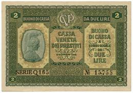 2 LIRE CASSA VENETA DEI PRESTITI OCCUPAZIONE AUSTRIACA 02/01/1918 SPL/SPL+ - [ 3] Emissions Militaires