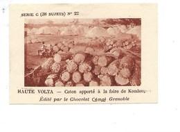 Chromo AOF Haute Volta Coton à Koudougou TB 75 X 50 Mm Pub: Chocolat Cémoi Au Dos Colonies Françaises - Chocolate