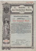 Action à 3,5% Des Deutschen Reichs En 1905 Pour 1000 Mark, Avec Feuille De 20 Coupons De 17m50 - Actions & Titres