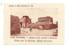 Chromo AOF Côte D'Ivoire KORHAGO TB 75 X 50 Mm Pub: Chocolat Cémoi Au Dos Colonies Françaises - Chocolat
