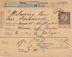 POLOGNE 1889 COLIS POSTAL DE RAYCZA POUR KRAKAU - Briefe U. Dokumente