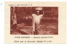 Chromo AOF Côte D'Ivoire Femme Porteur D'eau TB 75 X 50 Mm Pub: Chocolat Cémoi Au Dos Colonies Françaises - Chocolat