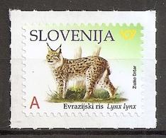 SLOVENIA,,SLOWENIEN 2019,FAUNA,ANIMALS DEFINITIVE STAMPS,,EURASIAN LYNX,REPRINT,MNH - Eslovenia