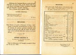 1867 SIENA DECRETO DAZI AL CONSUMO CON ELENCO GENERI ALIMENTARI - Vieux Papiers