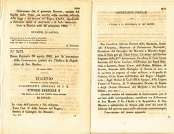1866 DECRETO CONVENZIONE POSTALE TRA ITALIA E SAN MARINO - Vieux Papiers