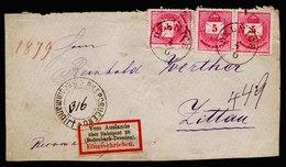 A6599) DR Briefvorderseite V. R-Brief Ungarn 1879 Seltener R-Zettel Vom Auslande über... - Briefe U. Dokumente