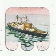 JC , Publicité HUILOR , SAMO , CREMOLIVE ... ,plaque Métal , Bateau : LE LENINE , U.R.S.S. 1957 , Frais Fr 1.45 E - Plaques En Tôle (après 1960)