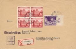 Deutsches Reich - 1942 - 6 (+24) Pf Tag Der Briefmarke + 4-Block On R-cover From Deisenhofen To Kötzting - Lettres & Documents