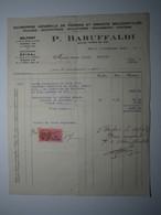 1937 FACTURE - BELFORT ÉPINAL  P. BARUFFALDI ENTREPRISE DE PIERRE ET GRANITS RECONSTITUÉS Timbre Fiscal 2 Francs - 1900 – 1949