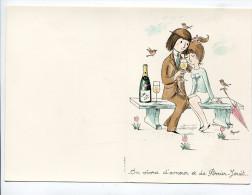 Double Feuillet Vierge Pour Menu  : Champagne  Perrier Jouët Amoureux De Peynet  Format 105*150 Mm - Menus