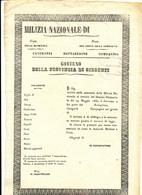 1860 SICILIA  GARIBALDINA GARIBALDI GIRGENTI FOGLIO MATRICOLARE UOVO MILIZIA NAZIONALE GUARDIA DI SICUREZZA PUBBLICA - Unclassified