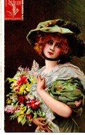 CPA  - Femme Portrait Avec Fleurs  -  écrite - - Femmes