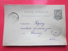 Cp AUBERGISTE écrite à CHAMPLEMY (58) 20/03/1896 Oblitérée à CHAMPLEMY & PREMERY (58) Timbre Entier Type SAGE - Ganzsachen