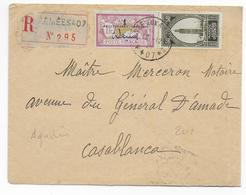 1929 - ENVELOPPE RECOMMANDEE Du SP 407 (AGADIR) Au MAROC ! => CASABLANCA - MERSON SURCHARGE - Storia Postale