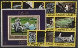 AST 105 - MANAMA Série De 16 Val. + 1 Bloc Obl. Conquête De L'espace - Manama