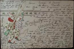 Cpa, Gaufrée,Souahaits Sincères, Clown, Pierrot, Bouteille De Champagne , Flûte, Trèfles, 1904, - Nouvel An