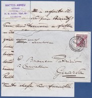 Cover + Letter - Lisboa Central To Guarda, Portugal / Perfect Cancel - Lisboa (Gare) Dez.1910 - 1910 : D.Manuel II