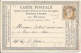 LT4985 N°59/carte Postale, Oblit Cachet à Date De Chalon-sur-Saône, Saône-et-Loire (70) Pour Bar-sur-Seine, Aube (9) Du - 1871-1875 Cérès