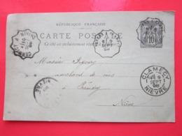 Cp écrite CHAMPLEMY Le 9/09/1898 Oblitérée à CLAMECY NEVERS & PREMERY (58) Timbre Entier Type SAGE - Ganzsachen